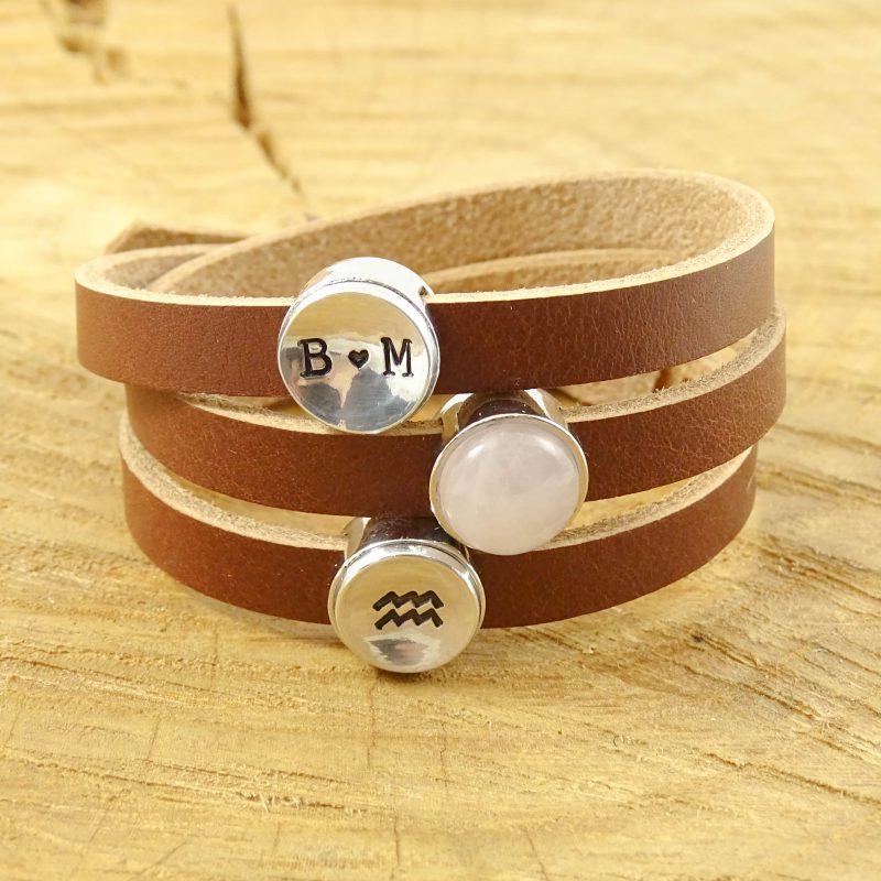 Leren armband of wikkel armband met edelsteen slider -9490
