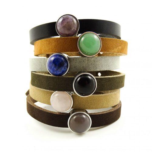 Leren armband of wikkel armband met edelsteen slider -0
