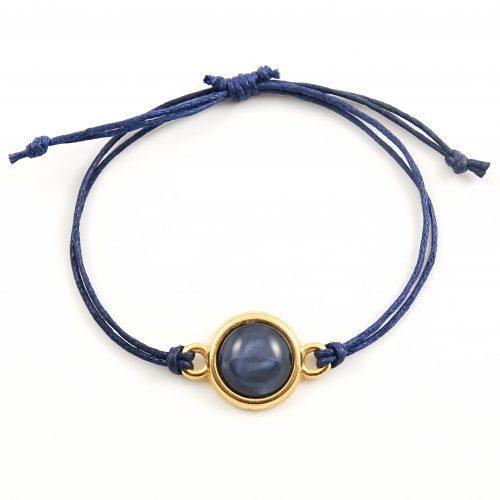 Armbandje donkerblauw en goud
