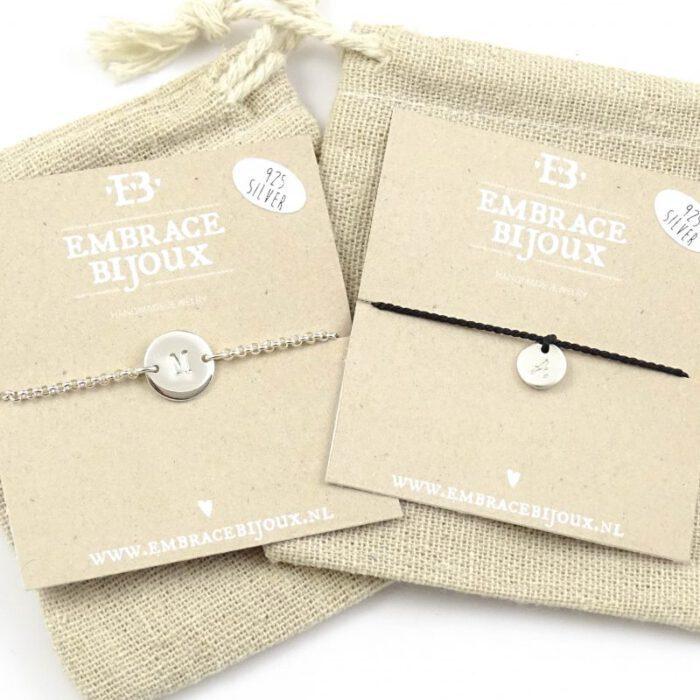Letter armbandje 925 zilver en zijde-9561