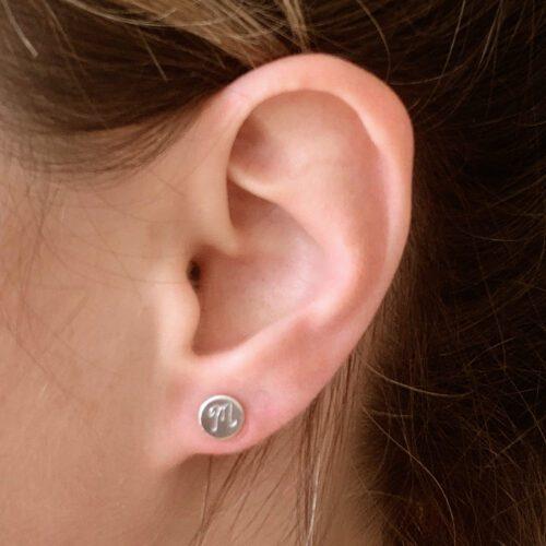 Zilveren oorbellen met letter initiaal echt zilver 925 sterling silver