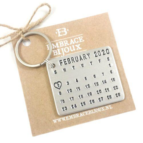 Kalender sleutelhanger met bijzondere datum februari 2020