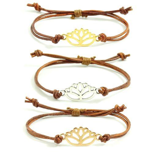 Leren armbandje met lotus