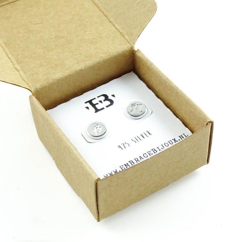 Oorbellen met letter 925 zilver-9613