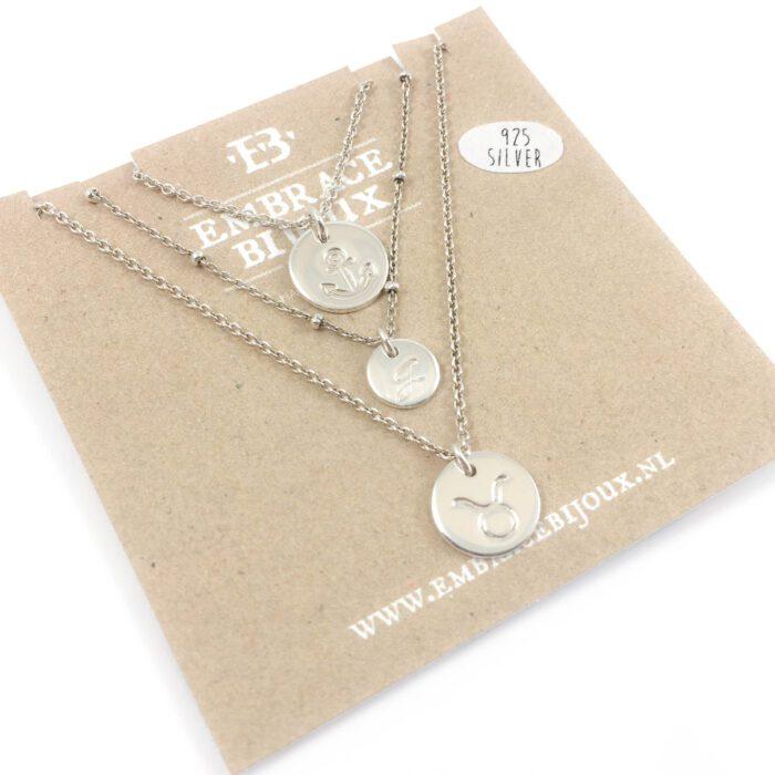 Kettinkjes 925 zilver met letter symbool sterrenbeeld