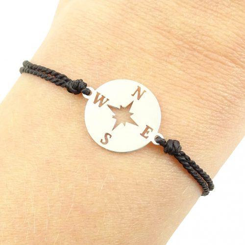Zilveren armbandje met kompas