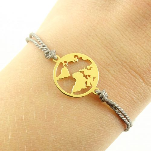 Armbandje met wereldkaart goud