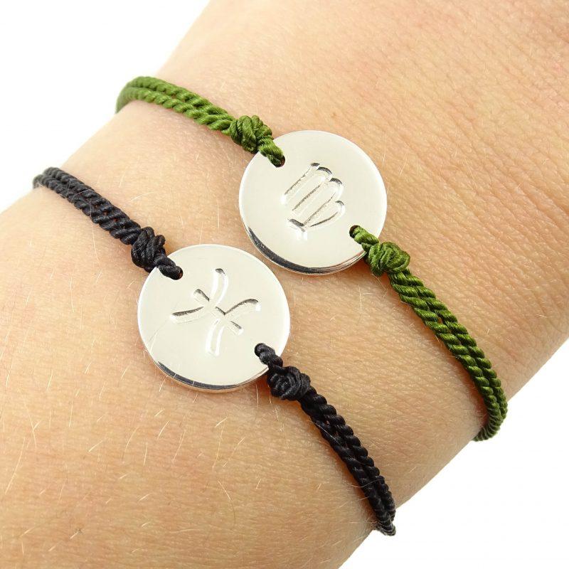 Armbandje met sterrenbeeld 925 zilver en zijde-9666