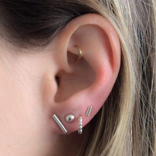Zilveren minimalistische oorbellen - Oorbellen 'minimal bar' 925 zilver - earparty mix and match oorbellen zilver
