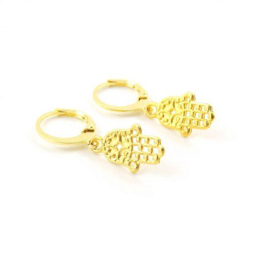 Hamsa oorbellen goud
