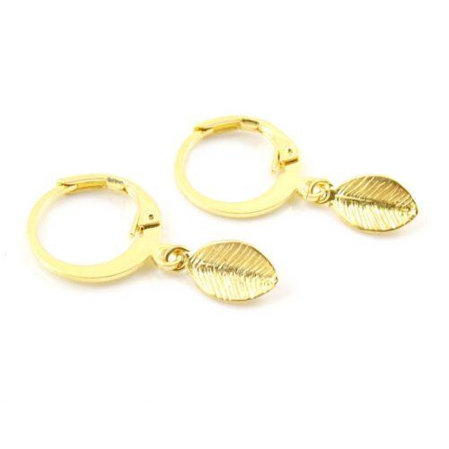 Oorbellen met blaadje goud