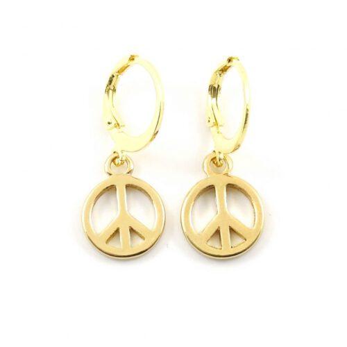 Peace oorbellen goud