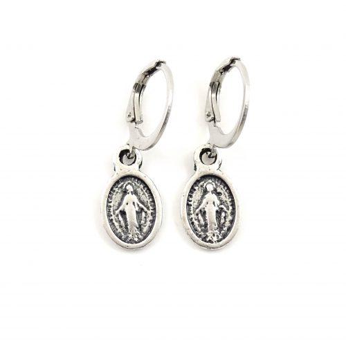 Silver holy hoop earrings
