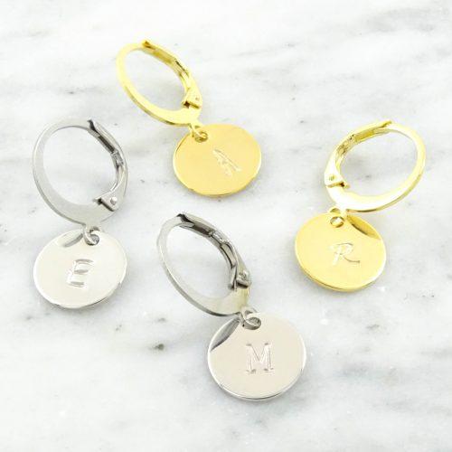 Initial coin hoop earrings-0