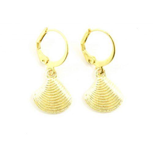 Schelp oorbellen goud