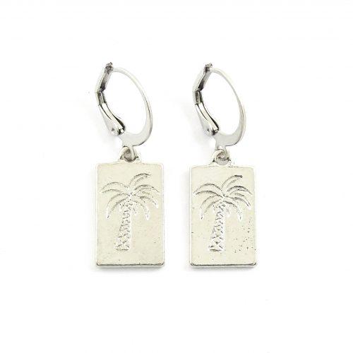 Palmboom oorbellen zilver