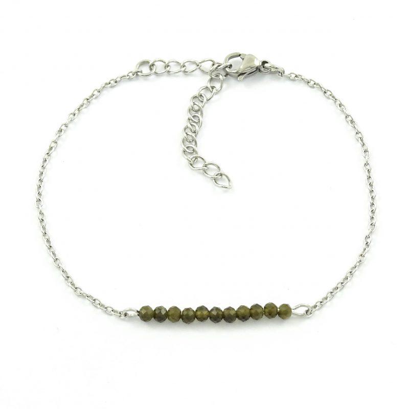 Armbandje met goud obsidiaan edelsteen - Stainless steel-9803