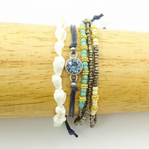 Setje armbandjes 'Shallow shore' navy blue-0