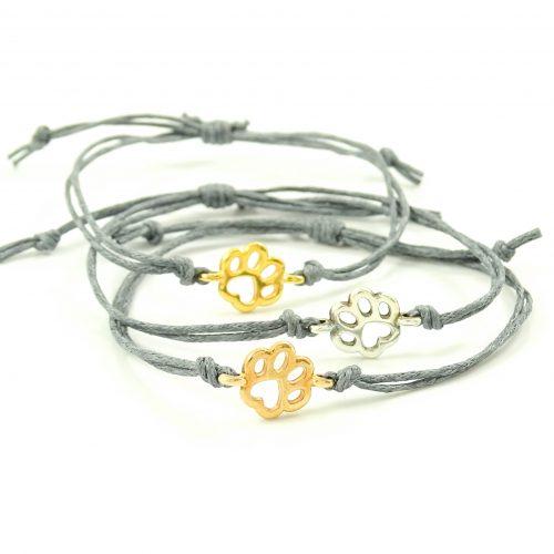 Armbandje met hondenpootje zilver, goud of roségoud plated-0
