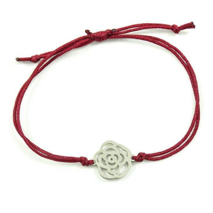Armbandje met roos - donker rood & stainless steel-0