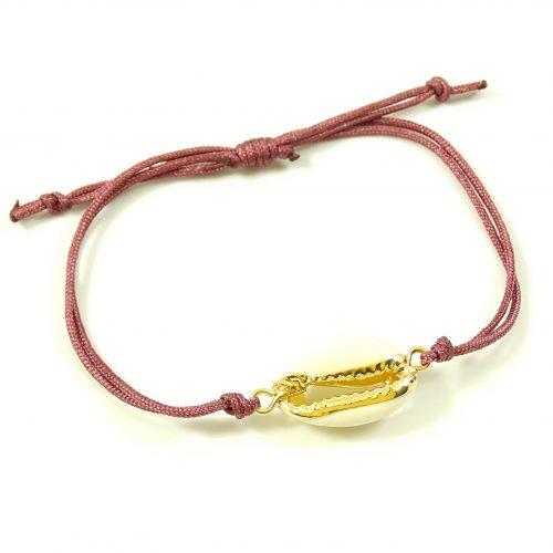 Schelp armbandje goud & vintage roze-0