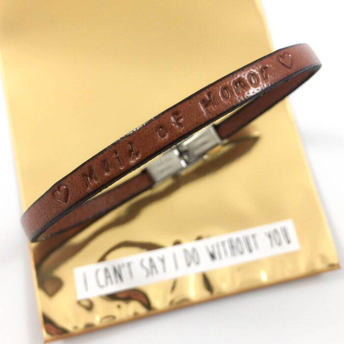 Leren armbandje met tekst getuige vragen maid of honor bruiloft