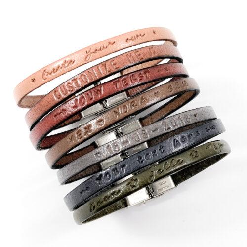 Leren armbandje met tekst smal naam namen datum