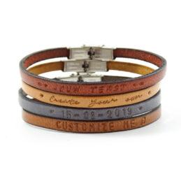 Tekst armband leer smal (4 verschillende kleuren leer)