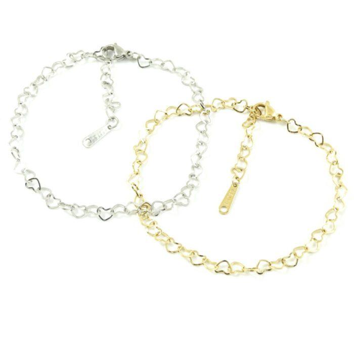 Armbandje met hartjes zilver goud