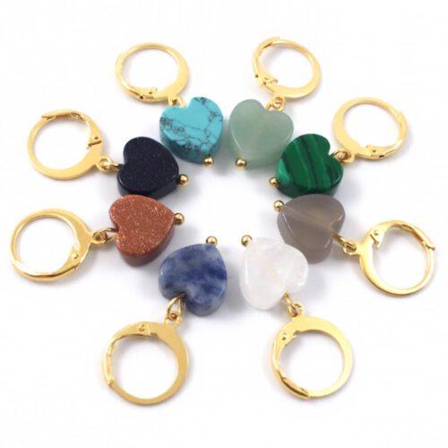 Heart stone oorbellen goud stainless steel