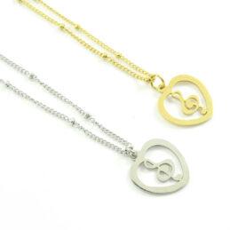 Ketting met g-sleutel hartje zilver of goud stainless steel