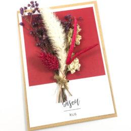 Wenskaart met droogbloemen Bisou / Kus