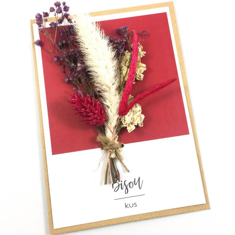 Wenskaart droogbloem gedroogde bloemen kus bisou