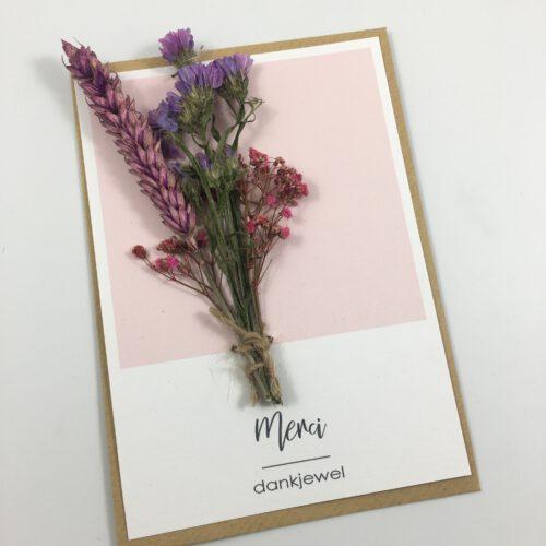 Wenskaart bedankt merci droogbloemen gedroogde bloem kaart