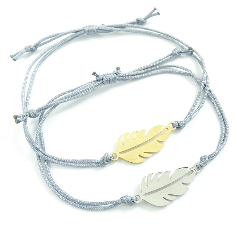 Armband met veertje goud of zilver staal