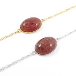 Armbandje aardbeienkwarts edelsteen ovaal – zilver of goud staal