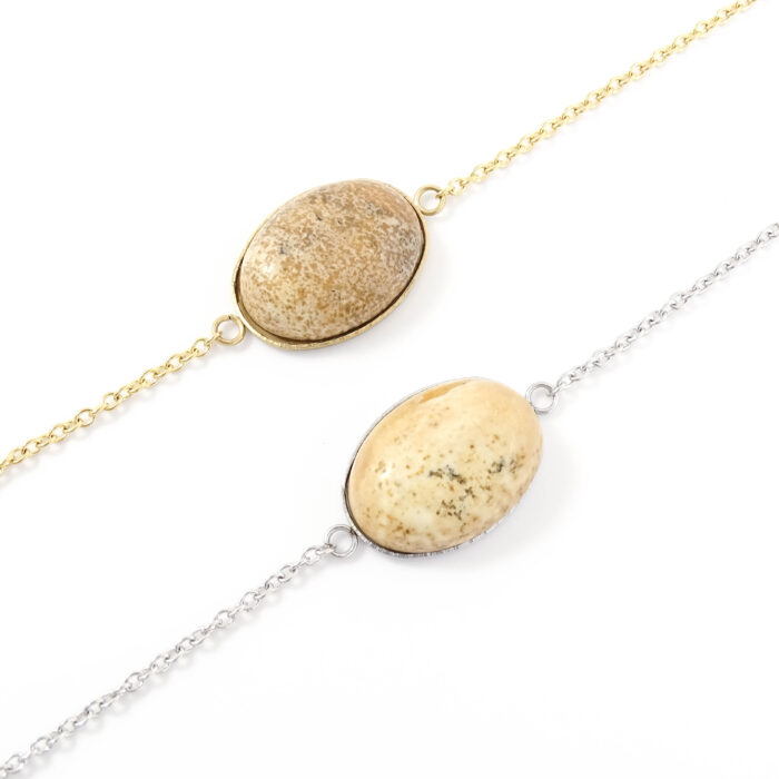 Armbandje beige jasper edelsteen ovaal - zilver of goud staal