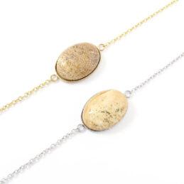 Armbandje beige jasper edelsteen ovaal – zilver of goud staal
