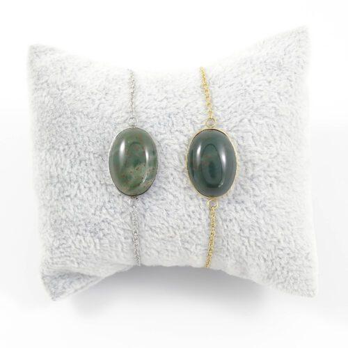 Armbandje donkergroen agaat edelsteen ovaal - zilver of goud staal
