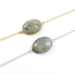 Armbandje labradoriet edelsteen ovaal – zilver of goud staal