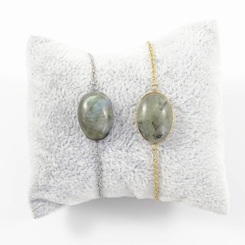 Armbandje labradoriet edelsteen ovaal - zilver of goud staal
