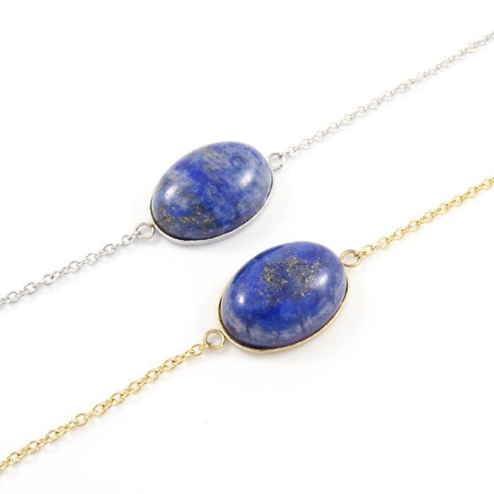 Armbandje lapis lazuli edelsteen ovaal - zilver of goud staal