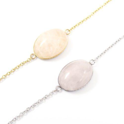 Armbandje rozenkwarts edelsteen ovaal - zilver of goud staal