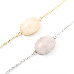 Armbandje rozenkwarts edelsteen ovaal – zilver of goud staal