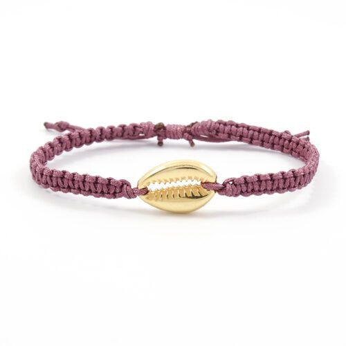 Geknoopt armbandje schelp goud & donker roze