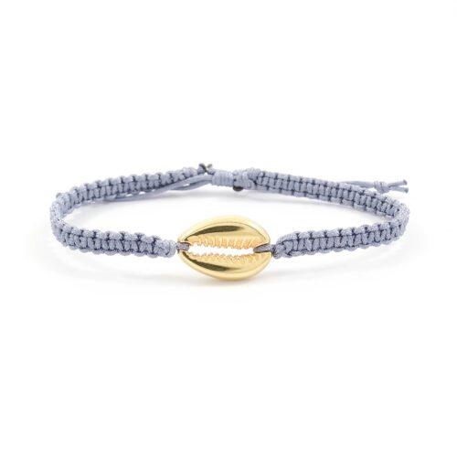 Geknoopt armbandje schelp goud & grijs