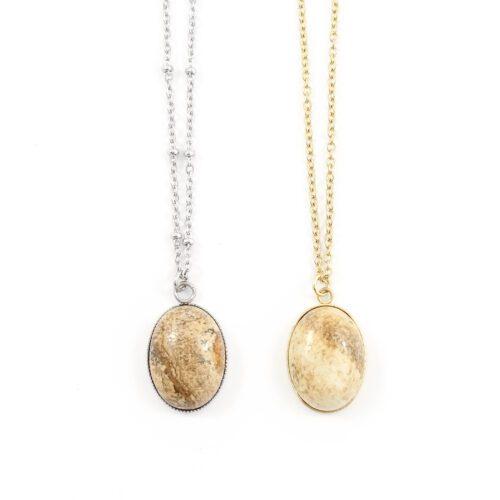 Ketting beige jasper edelsteen ovaal - zilver of goud staal