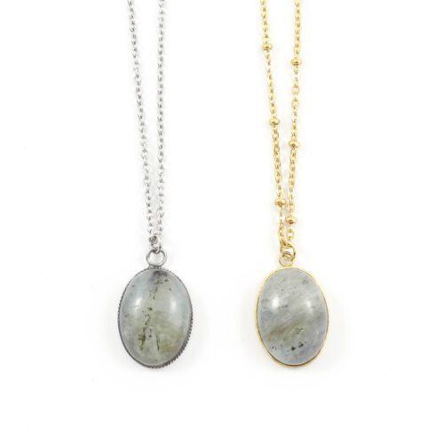 Ketting labradoriet edelsteen ovaal - zilver of goud staal
