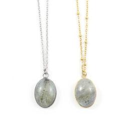 Ketting labradoriet edelsteen ovaal – zilver of goud staal