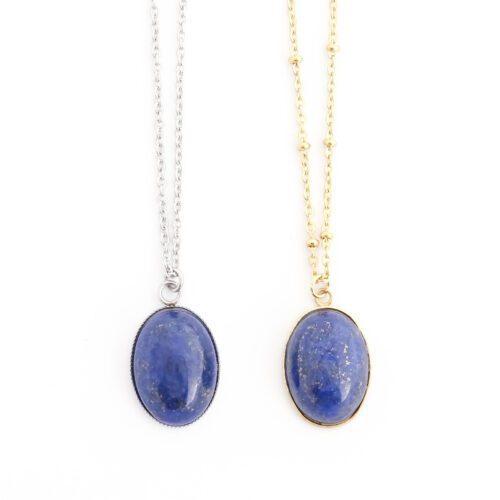 Ketting lapis lazuli edelsteen ovaal - zilver of goud staal